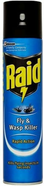 Raid Fly and Wasp Spray Killer Aerosol Works in Seconds Kills Mosquitos 300g
